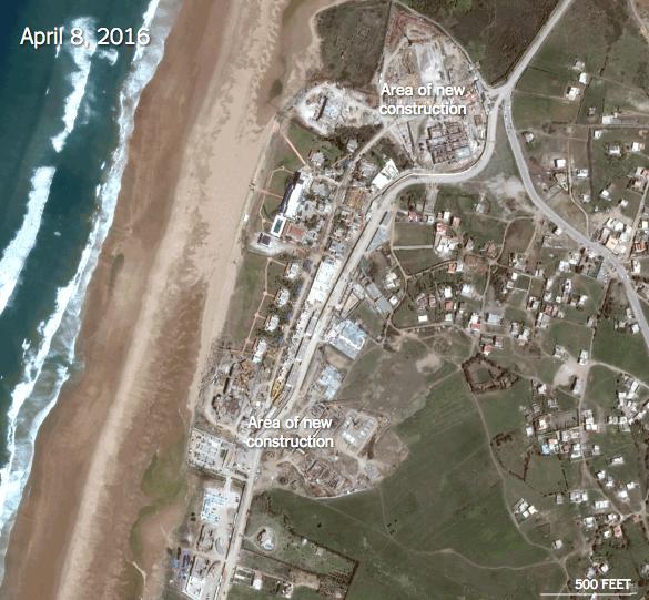 Vue aérienne du chantier du palais du Roi Salmane à Tanger