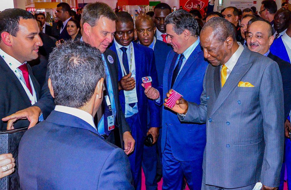 M. Alpha Condé, président de l'union africaine en visite du stand Centrale Danone, accompagné par M. Aziz Akhannouch, ministre de l'agriculture