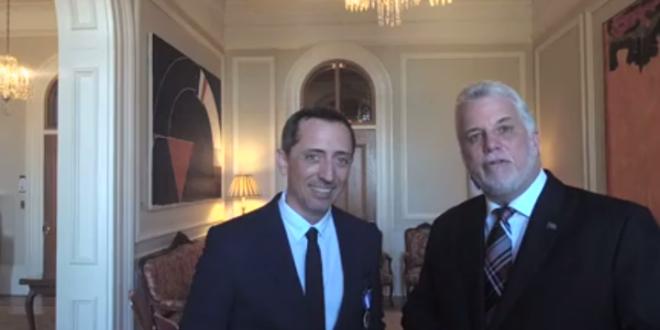 Gad Elmaleh tourne un sketch avec Philippe Couillard, Premier ministre québécois
