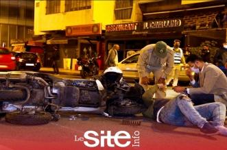 Casablanca: grave collision entre une voiture et une grosse moto (VIDEO)